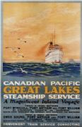 Vintage Travel Poster Canadian Pacific Great Lakes Steamships